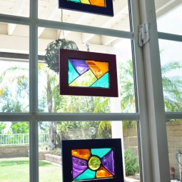 Homemade Stained Glass Frame Suncatchers