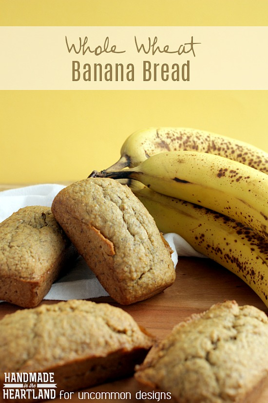 A yummy treat! Whole wheat banana bread recipe makes the perfect weekend breakfast or nighttime treat. Add a cold glass of milk and perfection! #recipe #bread #bananabread #bread