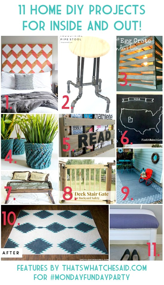 11 Home DIY Projects for inside and outside from the Monday Funday link party!