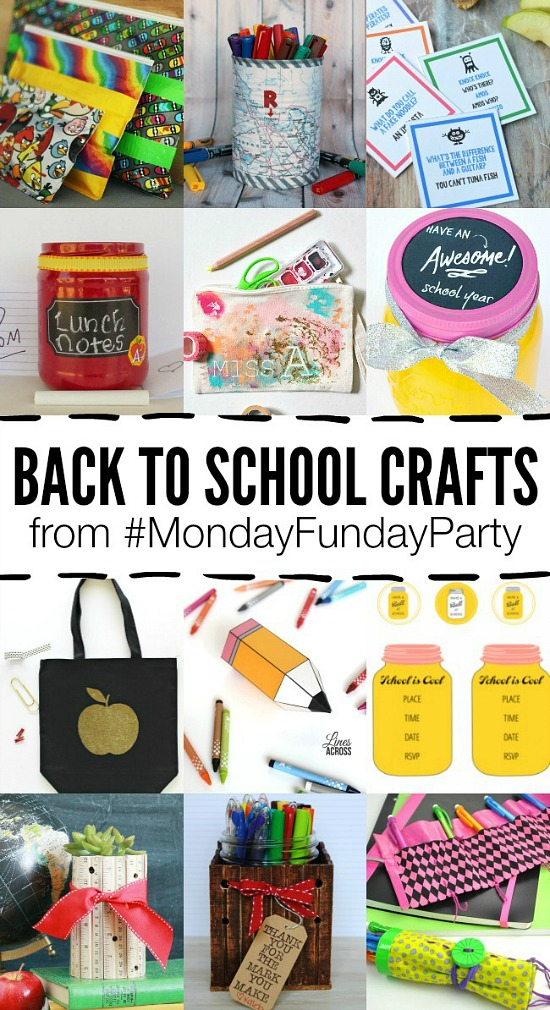 12 adorable Back to School crafts featured from the Monday Funday party! #linkparty #linkpartyfeature #crafts #backtoschool