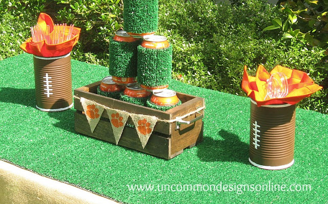 Astro Turf Runner and coozies for tailgating! via Uncommon Designs