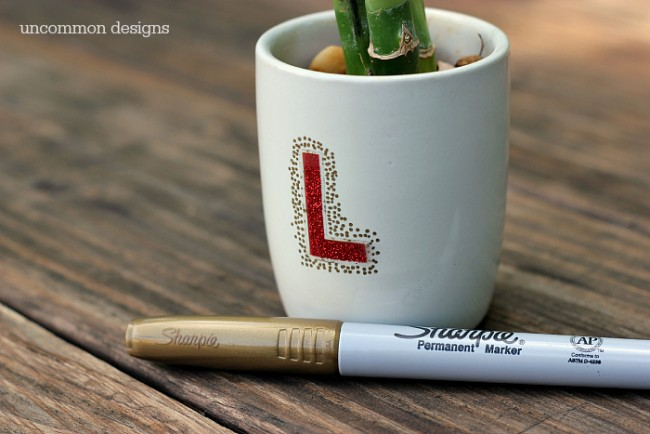 Sharpie Monogrammed Pots with Bamboo... wishing everyone luck during the Back to School frenzy!  via Uncommon Designs