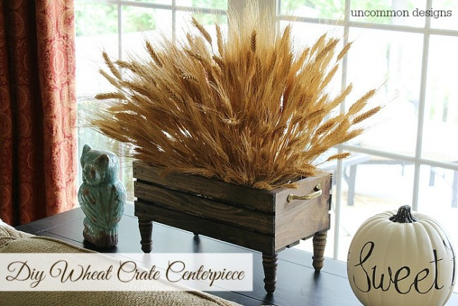 DIY Wheat crate centerpiece via Uncommon Designs