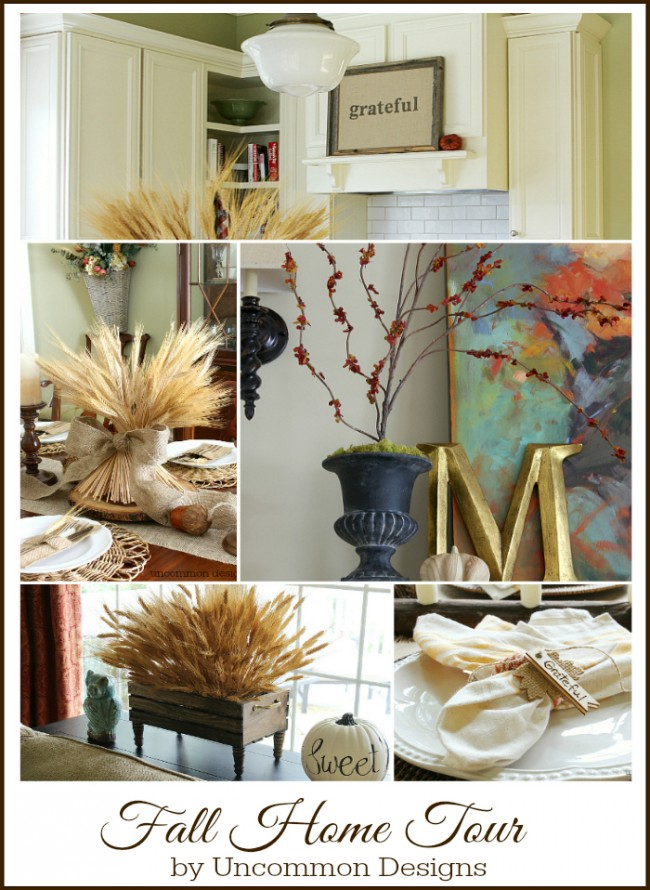 Fall Home Tour by Uncommon Designs. See the kitchen, dining room, and family room decked out for Fall and Thanksgiving.