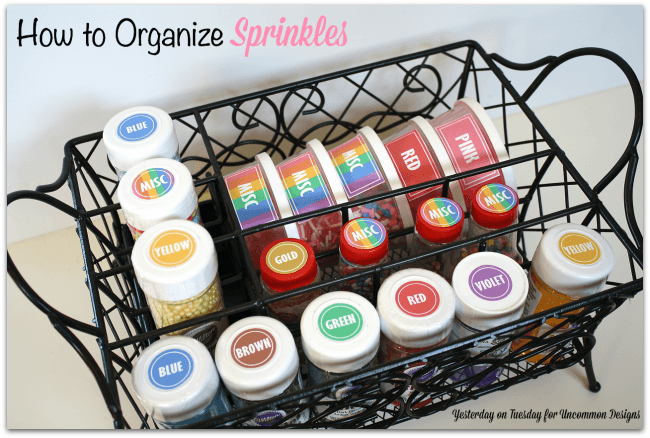 Learn how to organize sprinkles and get that pantry in order!  Includes free printable labels! via Uncommon Designs