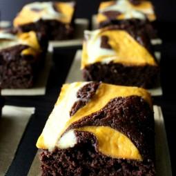 Pumpkin Cheesecake Swirled Brownies