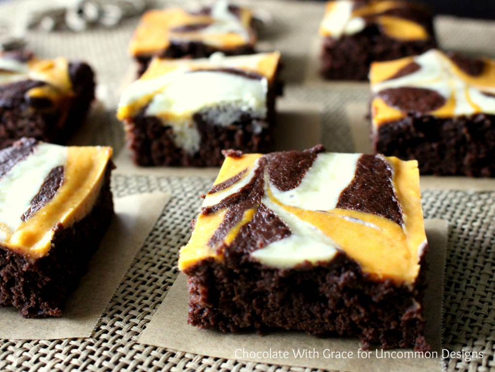 Pumpkin Swirl Brownies are the Perfect Fall Treat!  Such a delicious brownie recipe for this time of year! Uncommon Designs