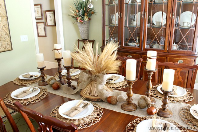 Creating a neutral Thanksgiving Tablescape for the holidays via Uncommon Designs