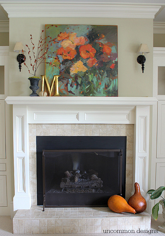 Simple fall mantel. #findinghomefalltour
