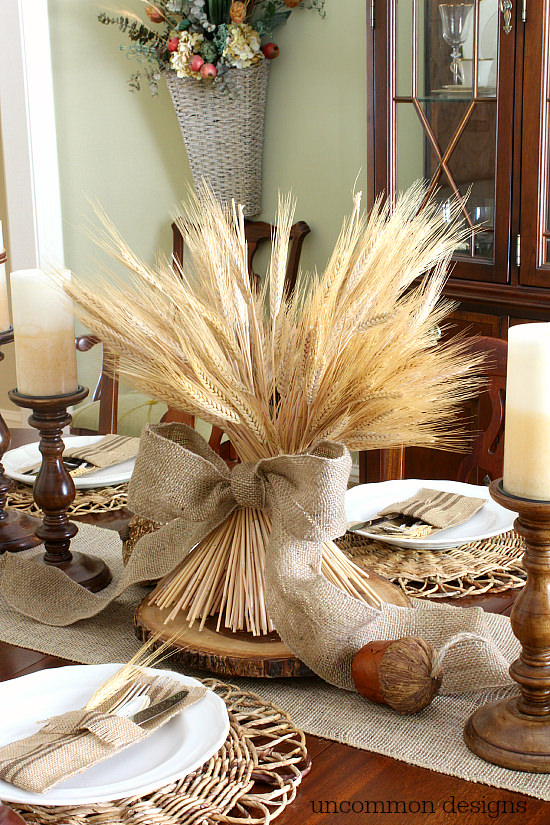 DIY Fall Wheat centerpiece via Uncommon Designs