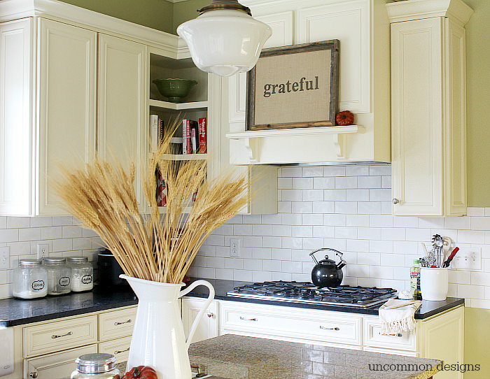 A beautiful fall home decor project...A Framed Burlap GRATEFUL sign via Uncommon Designs