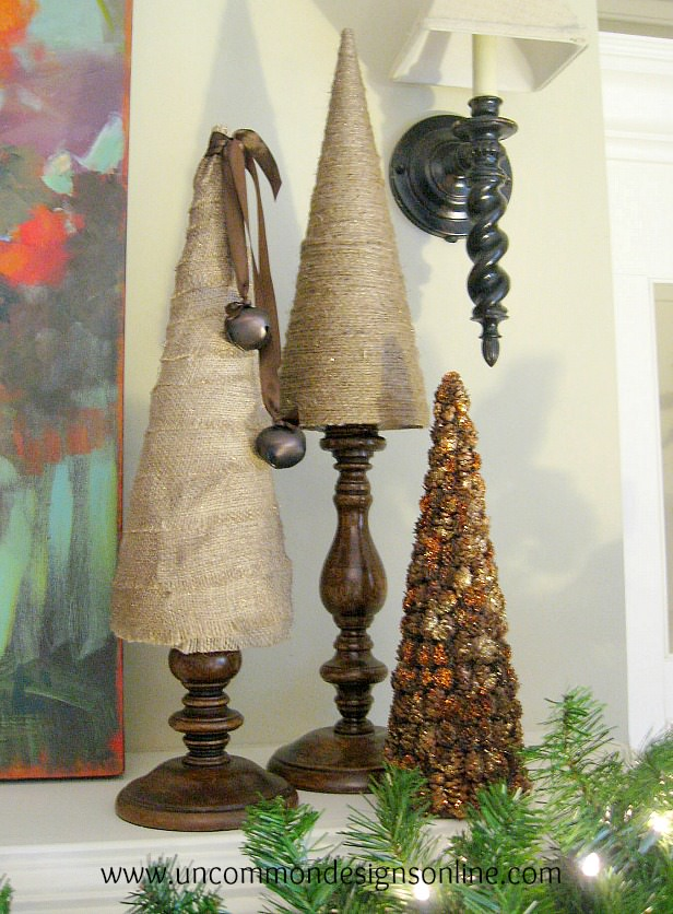 Mini pine cone kissing ball ornament and a giveaway for Burlap christmas table decorations