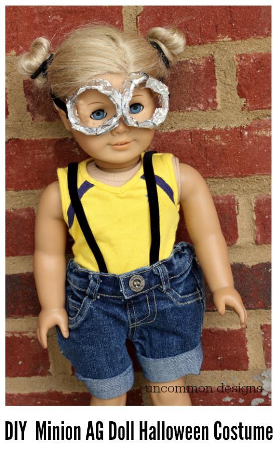 DIY Minion American Girl Halloween Costume via Uncommon Designs #doll crafts & Minion American Girl Doll Halloween Costume - Uncommon Designs