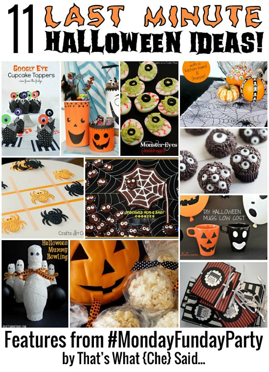 11 Last Minute Halloween Ideas from the Monday Funday link party via Uncommon Designs