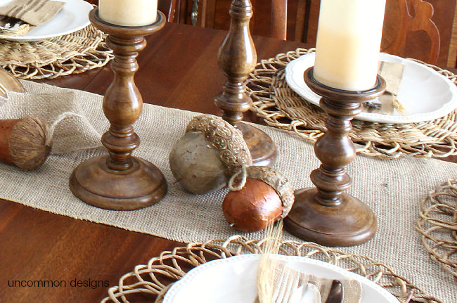 Burlap fall or Thanksgiving table runner via Uncommon Designs
