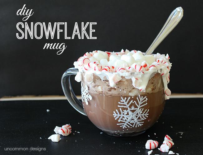 DIY Snowflake Mug via Uncommon Designs.  #snowflakes #decoart #decoartmugshots