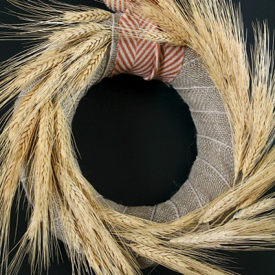 Fall Wheat and Burlap Wreath