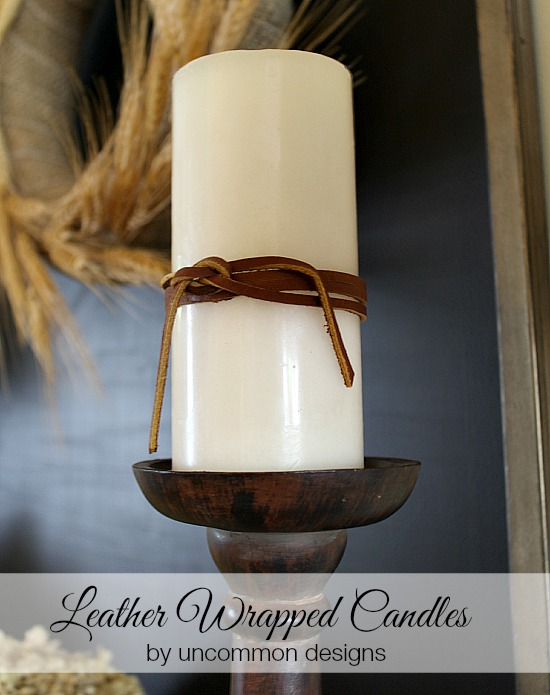 DIY Leather Wrapped Candles via Uncommon Designs. Such a super simple idea and beautiful!