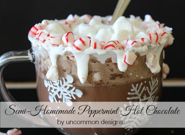 Semi-homemade Peppermint Hot Chocolate via Uncommon Designs #hotcocoa #recipe #peppermint