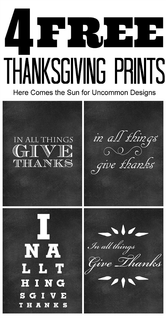 4 free Chalkboard Thanksgiving Printables to decorate simple and quick for the holidays! via Uncommon Designs
