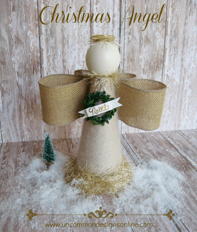 Gorgeous Christmas Angel made of a styrofoam cone and yarn via Uncommon Designs.