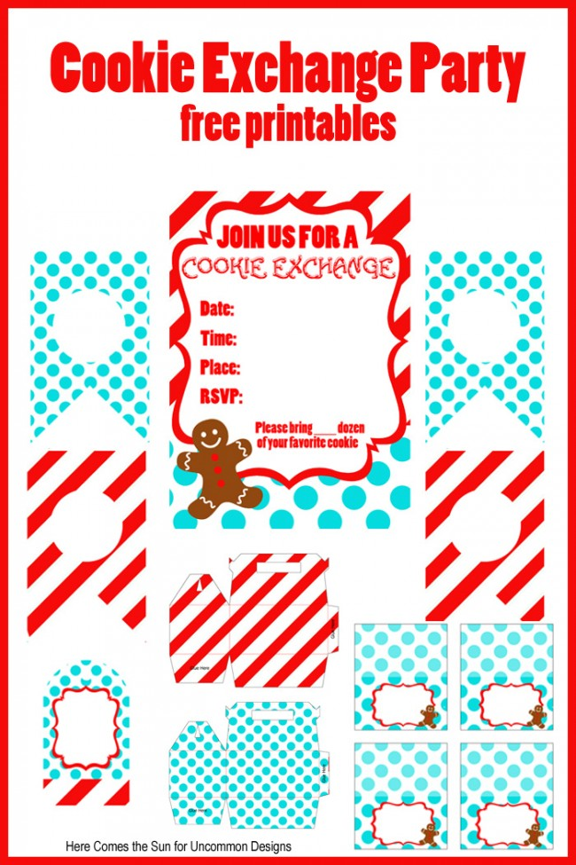 Host the easiest and most adorable Cookie Swap Party ever with these Cookie Exchange Party Free Printables via Uncommon Designs