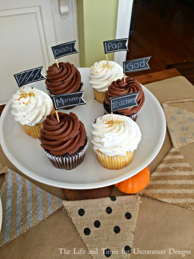 Show what you are grateful for in the sweetest way... Thanksgiving Cupcakes via Uncommon Designs