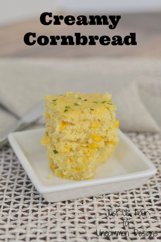 This creamy cornbread recipe is so simple and will warm you up on these cold winter day! via Uncommon Designs