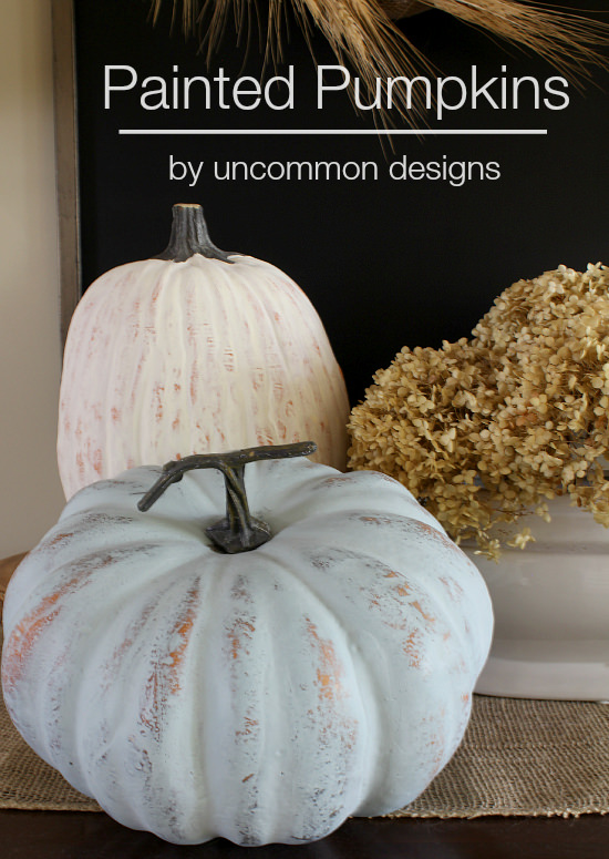 Painted Pumpkins via Uncommon Designs using DecoArt Americana Chalky Finish Paint. 2 steps to beautifully distressed fall pumpkins.