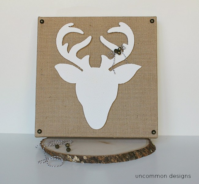 Create a snow covered Reindeer Silhouette Burlap Canvas for your Christmas Decor using Snow-tex in your home via Uncommon Designs.
