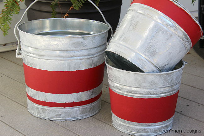 Vintage stripe aged galvanized buckets for Christmas tin pails