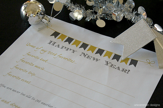 Celebrate the New Year and capture the memories with this Free New Year Printable from Uncommon Designs. A perfect conversation starter at your party with  friends and family.