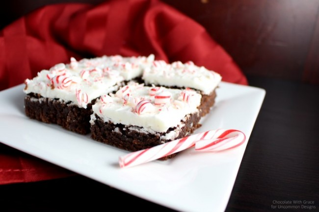 Need a simple, but delicious holiday treat idea?  Try out these Peppermint Frosted Brownies.... they are amazing!! via Uncommon Designs