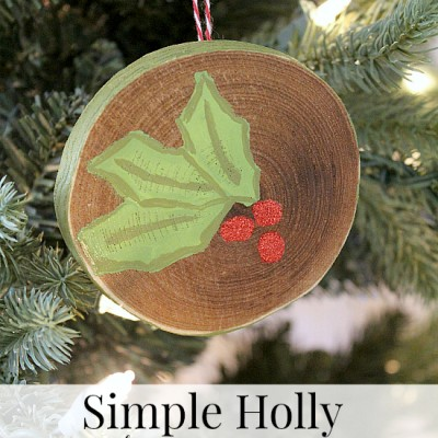 Simple Holly Christmas Ornament