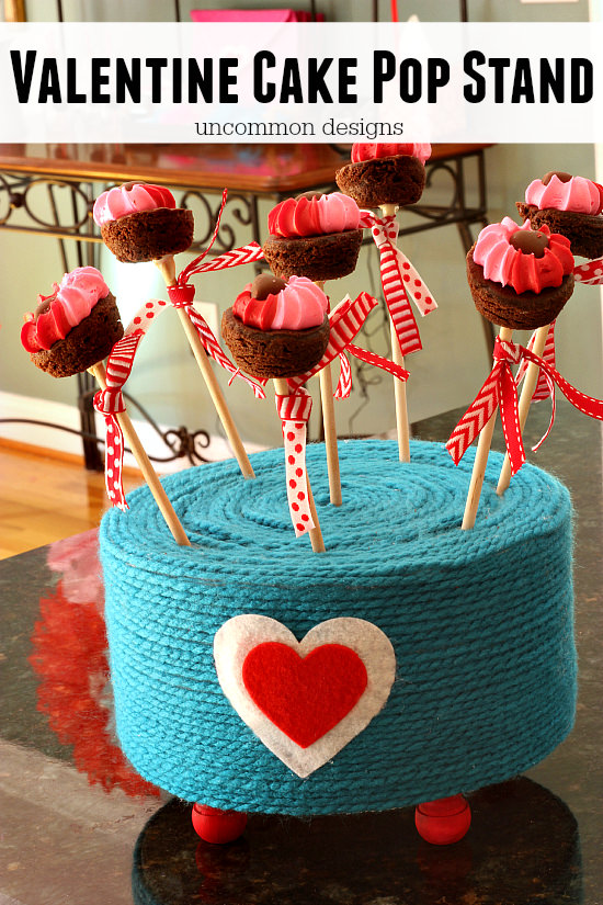 Valentine Cake Pop Stand made with a yarn wrapped Make It Fun Foam Cake Round! by Uncommon Designs