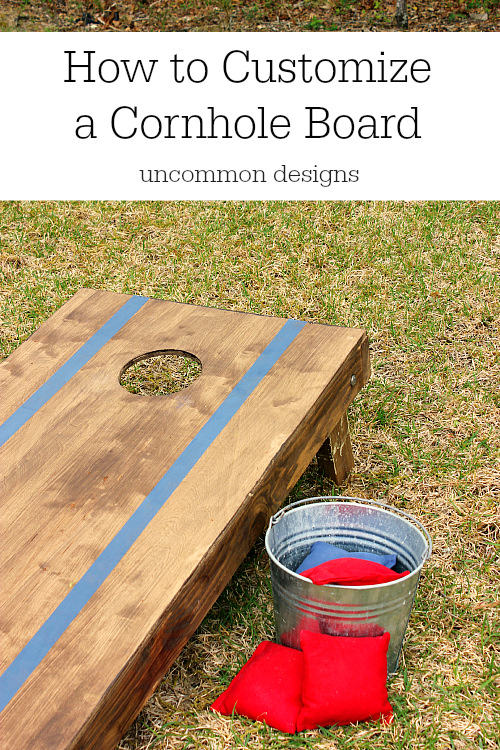 How to customize a cornhole board for your next tailgate party via Uncommon Designs