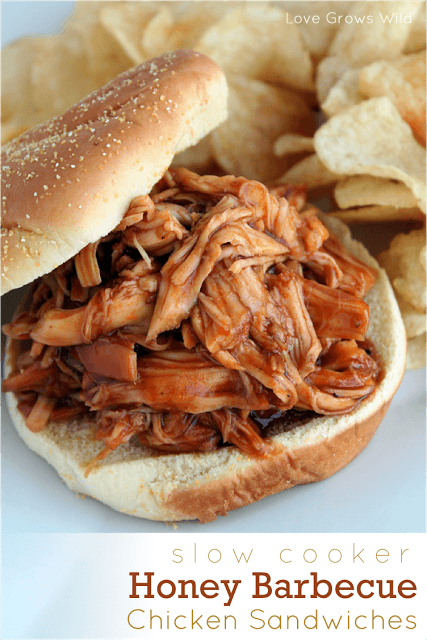 Slow Cooker Honey Barbeque Chicken Sandwiches. A perfect tailgating dinner via Uncommon Designs.