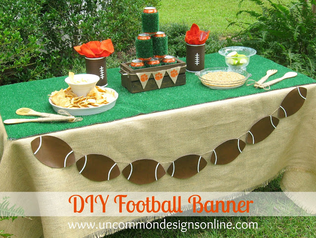 This adorable DIY Football Banner will be the hit of your next tailgating party! Via Uncommon Designs