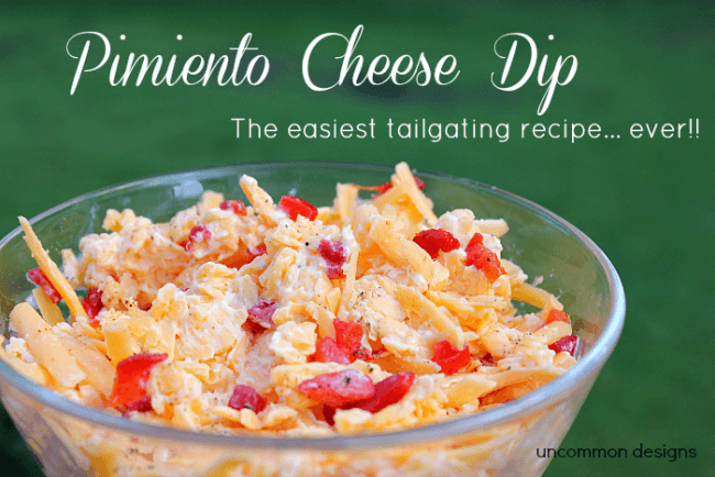 Yummy Pimiento Cheese Dip via Uncommon Designs perfect for your next football tailgate party