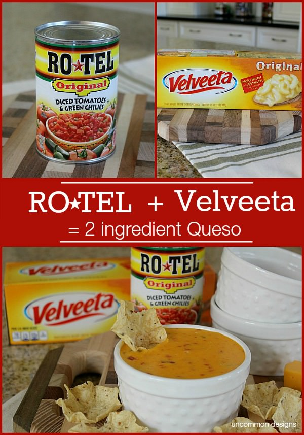 Create a simple 2 ingredient Queso with RO*TEL and VELVETTA. We even created a fun dipping station via Uncommon Designs.