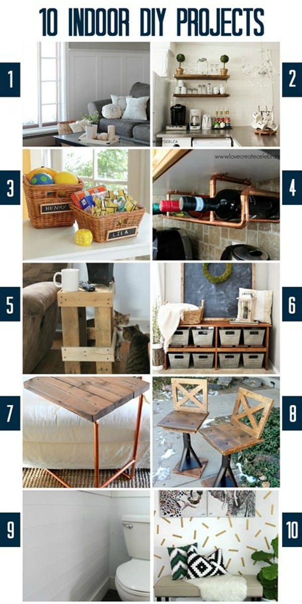 10 Fabulous Indoor DIY Projects from the Monday Funday party via Uncommon Designs.