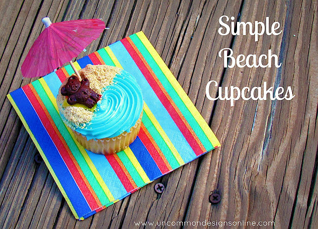 Adorable semi homemade beach cupcakes via Uncommon Designs.