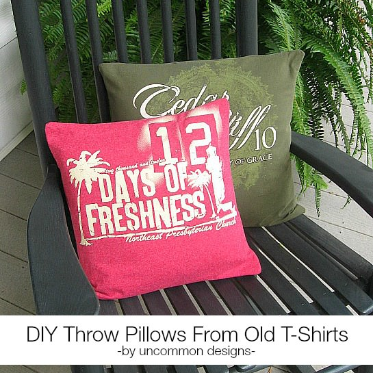 Create fun throw pillows from old t-shirts for a fun whimsical home decor item via Uncommon Designs.