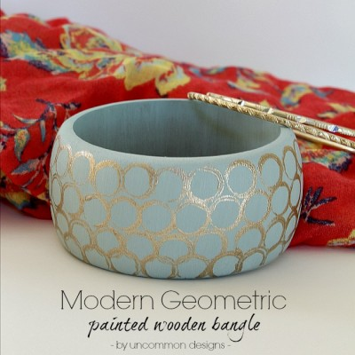 Modern Geometric Painted Wooden Bangle