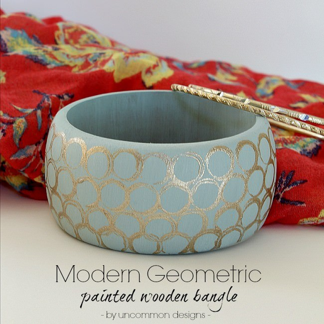 Create a beautiful Modern Geometric Painted Wooden Bangle via Uncommon Designs. A gorgeous statement piece of jewelry.