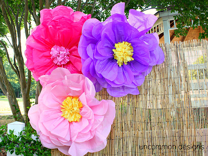 Create giant Luau Tissue Paper Flowers for the next party via Uncommon Designs. Tutorial on the site.