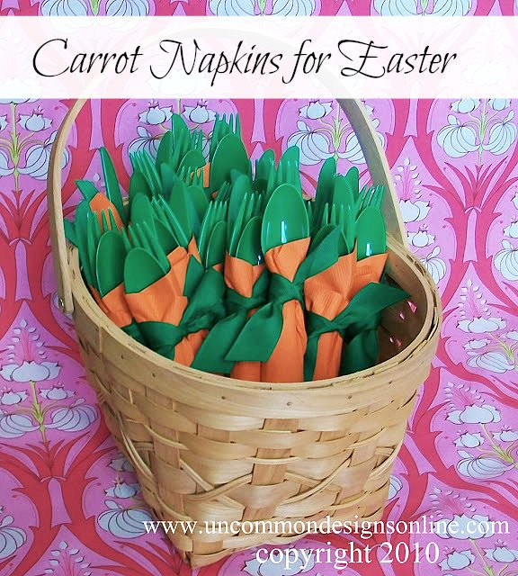 How to make carrot napkins for Easter via Uncommon Designs