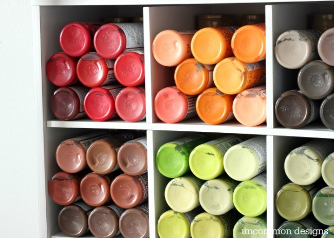 Organize all of those tiny bottles of craft paint with this simple solution from Uncommon Designs