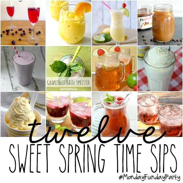 12 Spring Drink Recipes from the Monday Funday link party via Uncommon Designs.