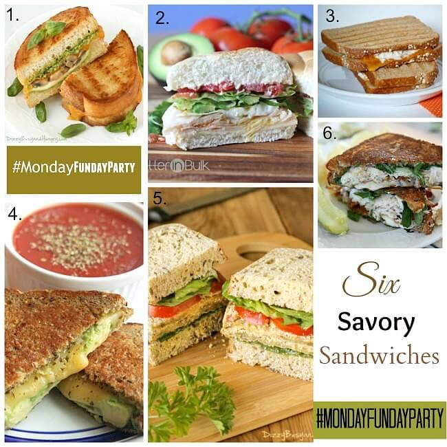 6 Savory Sandwich Recipes from Monday Funday via Uncommon Designs